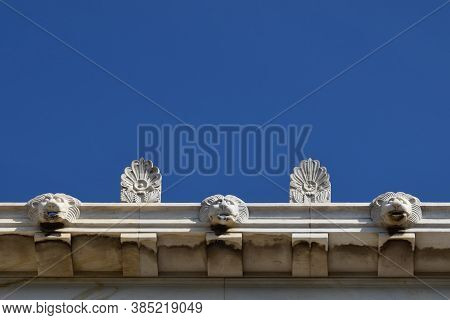 Palmette Antefix Ornaments And Lion Head Drain Water Spouts On The Roof Of Stoa Attalos In The Ancie