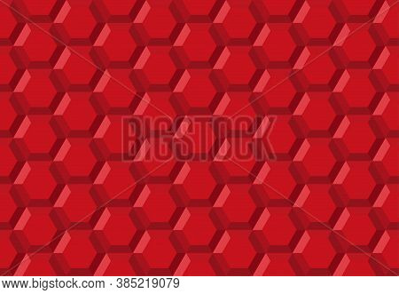 Honeycomb Hexagon Robot Technology Abstract Seamless Vector 3d Background Illustration Pattern Red,