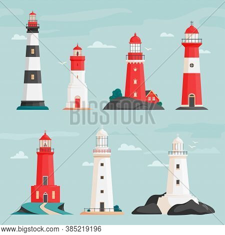 Set Of Vector Lighthouses On Islands In Flat Style. Coastline Landscape With Beacon. Faros On Seasho