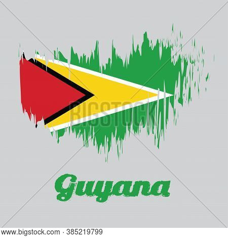 Brush Style Color Flag Of Guyana, A Green Field With The Black Red Triangle And White Golden Triangl