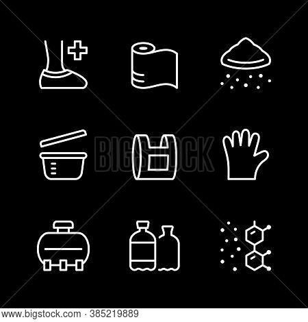 Set Line Icons Of Polyethylene Or Polythene Isolated On Black. Vector Illustration