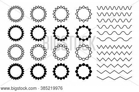 Wave Zigzag Dividers. Undulating Zig Zag Round Frames. Isolated Horizontal Squiggle Wavy Lines, Blac