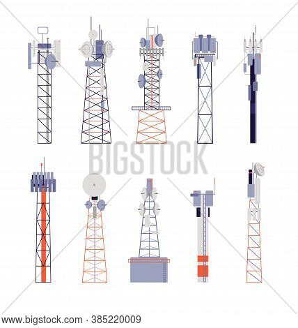 Wireless Towers. Satellite Communication, Isolated Radio Aerial Or Cellular Equipment. Antenna, Tele