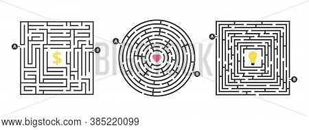 Labyrinth Game. Fun Maze, Puzzle For Leisure Time. Find Money Love Or Idea. Life Competition Or Sear