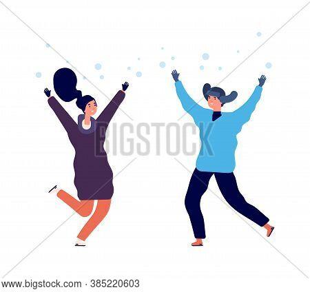 People Enjoy Snow. Man Woman Jumping Snowfall, Flat Happy Winter Characters. Season Activity In Cold
