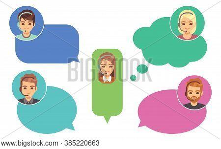 Call Center Operators. Support Avatars, Online Help Service. Cute Cartoon Girl Boy In Speech Bubbles