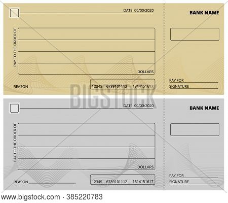 Empty Check Template. Business Cheque Book Design. Bank Checking, Blank Page For Charity Donations,