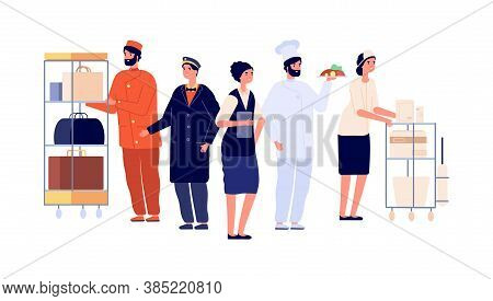 Hospitality Workers. Hotel Staff Characters, Receptionist Porter Maid Doorman Chef. Hostel Team, Tra