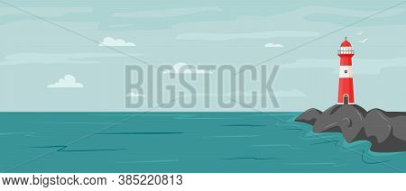 Peaceful Seaside Landscape With Lighthouse On The Rock. Vector Coastline Landscape With Beacon. Faro