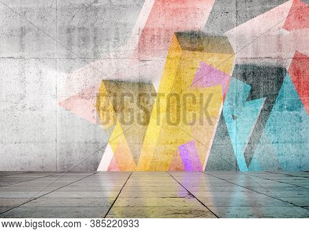 Empty Room Interior Background With Colorful Geometric Graffiti On The Front Wall. 3d Rendering Illu