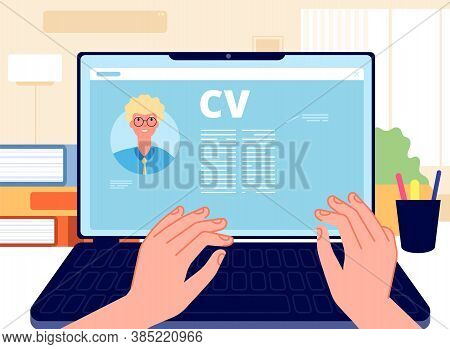 Online Cv. Young Man Writing Job Application On Laptop. Hr Concept, Searching Job In Internet. Caree