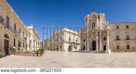 Panorama of an empty Piazza Duomo and of the Cathedral of Syracuse, Sicily, Italy