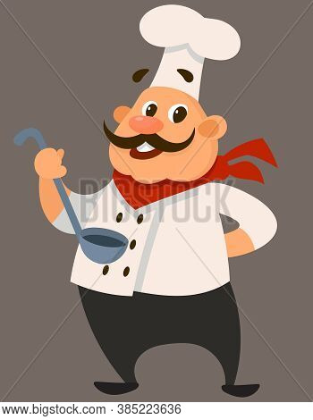 Chef Holding Ladle. Male Character In Cartoon Style.