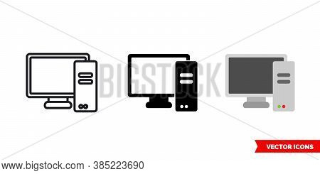 Pc Personal Computer Icon Of 3 Types Color, Black And White, Outline. Isolated Vector Sign Symbol.