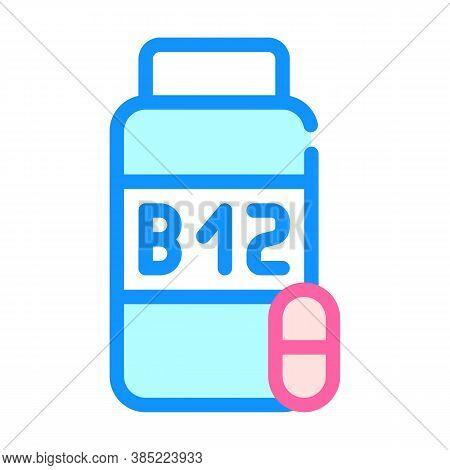 Vitamins B12 Color Icon Vector Symbol Illustration