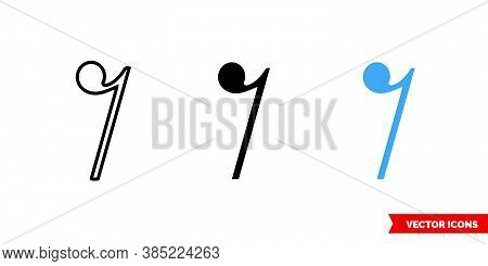 Quaver Rest Icon Of 3 Types Color, Black And White, Outline. Isolated Vector Sign Symbol.