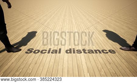 Concept or conceptual 3d illustration of a man to woman meeting following social distance guidelines on a wooden floor background. A metaphor for the change in company relations during the lockdown