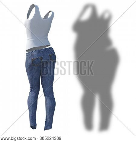Conceptual fat overweight obese shadow female jeans undershirt vs slim fit healthy body after weight loss or diet thin young woman isolated. Fitness, nutrition or obesity health shape 3D illustration