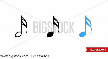 Sixteenth Note Icon Of 3 Types Color, Black And White, Outline. Isolated Vector Sign Symbol.