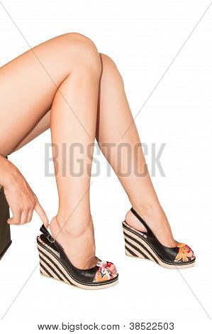 Woman's Legs With Summer Shoes