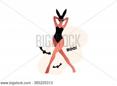 Halloween Party. Sexy Girl In Lingerie Vector
