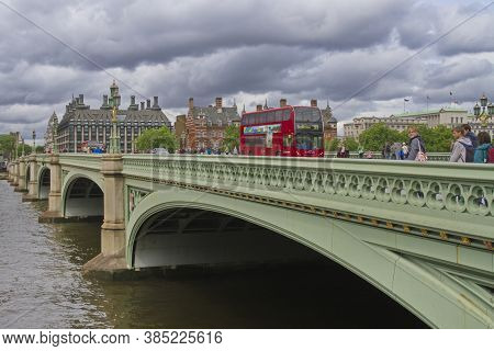 London, England; May 24, 2014. Westminster Bridge In A Cloudy Day.