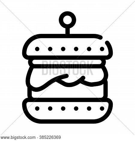 Hamburger With Vegan Cutlet Line Icon Vector Illustration