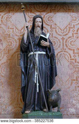 STARI FARKASIC, CROATIA - OCTOBER 10, 2013: Altar of St. Anthony the Hermit at the Church of the Visitation of the Virgin Mary in Stari Farkasic, Croatia