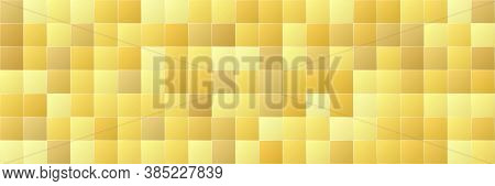 Shiny Gold Gradient Color Square Seamless Pattern Background, Glitter Golden Mosaic Geometric Textur