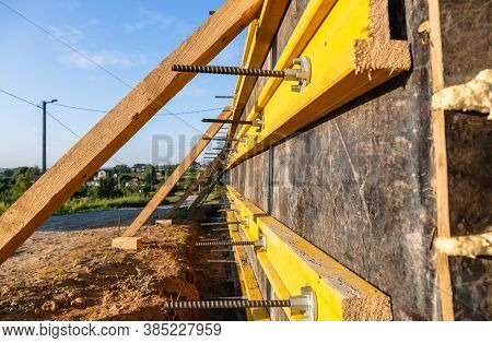 Close-up Construction Of A Retaining Wall Or Counterfort, Formwork, Reinforced, Preparation To Pour