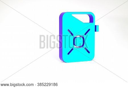Turquoise Canister For Motor Machine Oil Icon Isolated On White Background. Oil Gallon. Oil Change S