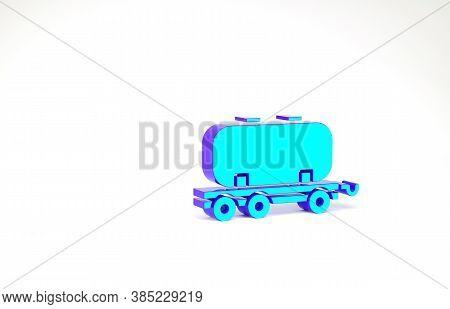 Turquoise Oil Railway Cistern Icon Isolated On White Background. Train Oil Tank On Railway Car. Rail