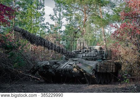 Panzer T-64 Is Ready For Battle On The Eastern Front Of Ukraine In Donbass
