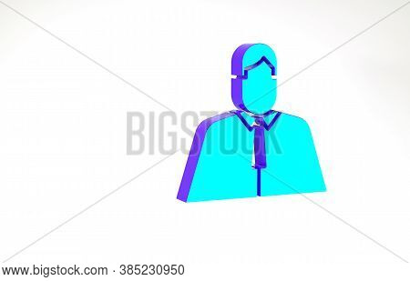 Turquoise Lawyer, Attorney, Jurist Icon Isolated On White Background. Jurisprudence, Law Or Court Ic