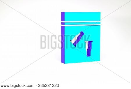 Turquoise Evidence Bag And Bullet Icon Isolated On White Background. Minimalism Concept. 3d Illustra