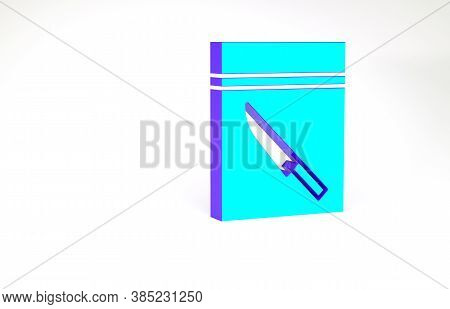 Turquoise Evidence Bag And Knife Icon Isolated On White Background. Minimalism Concept. 3d Illustrat