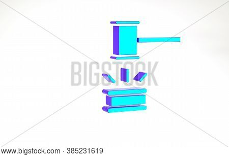 Turquoise Judge Gavel Icon Isolated On White Background. Gavel For Adjudication Of Sentences And Bil