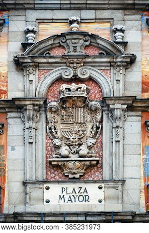 Plaza Mayor historical building closeup view in Madrid, Spain.