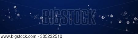 Sparse Snowfall Christmas Background. Subtle Flying Snow Flakes And Stars On Dark Blue Background. B