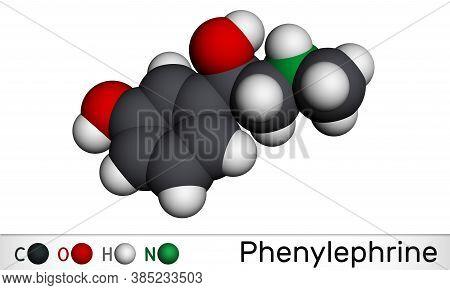 Phenylephrine Molecule. It Is Nasal Decongestant With Potent Vasoconstrictor Property. Molecular Mod