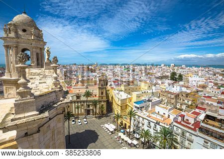 Cadiz, Andalusia, Spain - April 21, 2016: Cadiz Square Aerial View On Top Of The Cathedral Of Cadiz,