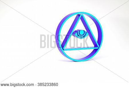 Turquoise Masons Symbol All-seeing Eye Of God Icon Isolated On White Background. The Eye Of Providen