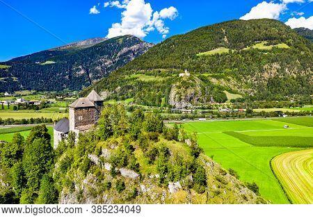 Reifenstein Castle Or Castel Tasso And Castle Sprechenstein In South Tyrol, Italy