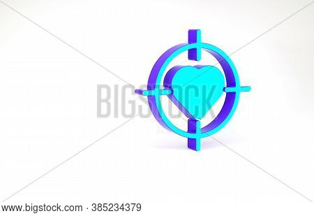 Turquoise Heart In The Center Of Darts Target Aim Icon Isolated On White Background. International H