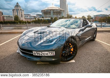 Moscow, Russia - August 14, 2020: Modern Sportscar Chevrolet Corvette Stingray C7 In The Downtown.