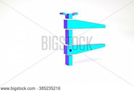 Turquoise Clamp Tool Icon Isolated On White Background. Locksmith Tool. Minimalism Concept. 3d Illus