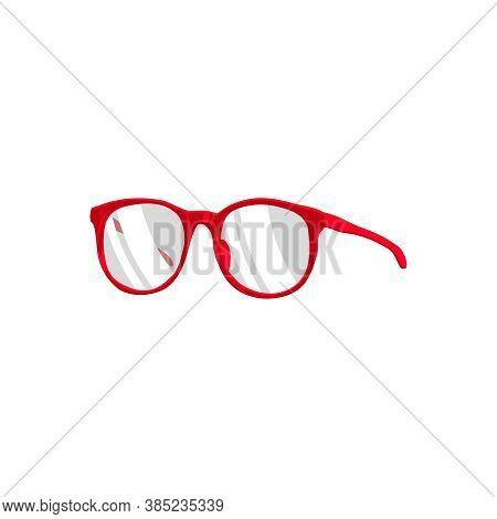 Eye Glasses Accessory. Round Red Rimmed Fashion Female Eyewear Cartoon Vector Illustration Isolated