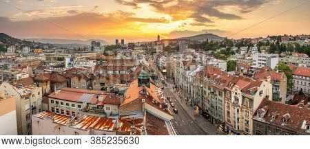 Sarajevo, Bosnia and Herzegovina - August 28, 2019: Panorama cityscape of Sarajevo city center at sunset, Bosnia and Herzegovina