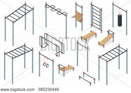 Isometric Outdoor Exercise Equipment, Outdoor Sports Ground. Element And Equipment For Urban Outdoor