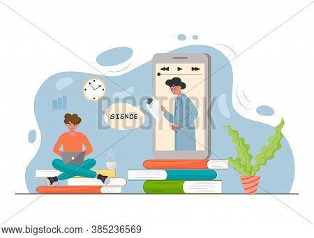 Online Education Concept. Student Learning Online At Home. Online Video Courses, E-learning And Podc